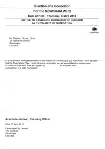 Notice to Candidate of Nomination